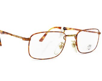 STING by DIERRE rectangular frame for prescription or sunny // hot dappled tones and golden details // vintage frame New Old Stock