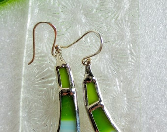Green earrings (stained glass)