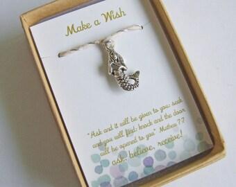 Mermaid Wishing Bracelet, Mermaid String Ankle, Beach Bracelet Anklet, Beach Wedding, Bridesmaid Gifts, Mermaid Gift, Let's be Mermaid
