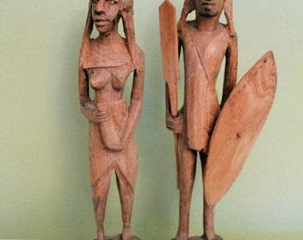 Wooden African Woman & Man Figurine, Hand Carved Wood Statue, African Wood Sculpture, Folk Art, African Decor,
