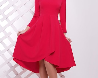 Red Dress Dress for Dinner parties Birthday Dress Flared Dress For Walking Meetings romantic dress