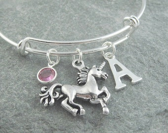 Unicorn bracelet, silver unicorn charm, initial bracelet, adjustable bangle, swarovski birthstone, personalized jewelry, unicorn jewelry