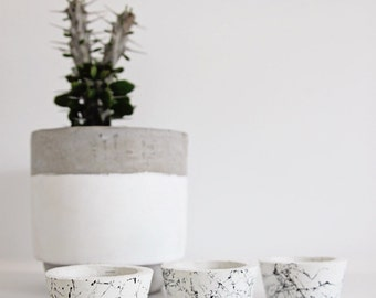 Hand Made Concrete Tea Light Holders - White concrete marble design (set of 3) Home decor/wedding favours
