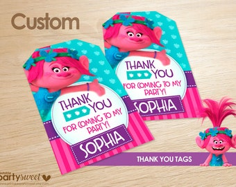 Troll thank you tags, Trolls birthday party, instant download, thank you cards, Troll gift tags, Troll favor tags, printable troll