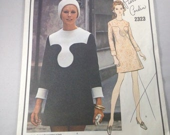 Vintage 1960s Cut Vogue Paris Original 2323 Pierre Cardin Mod Dress Pattern Size 10