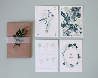 Batch of 4 postcards - print, gilding and printing offset-illustration, botanical, flower, foliage, drawings, green, gold