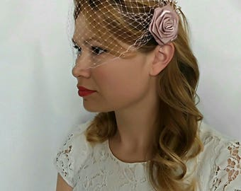 Blush Birdcage Veil, Rose Gold Veil, Rose Gold Headpiece, Blush Pink Wedding Veil, Blush Pink Bridal Veil