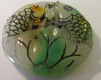 Carved Tri-Color Jade Pendant of Double Koi Fish and Lotus Blossom, 2""