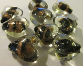 """Clear Glass Heart Beads with Black and Gold Centers, 1/2"""", Set of 2"""