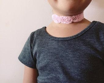 Toddler/Kids Baby Pink Rose Choker