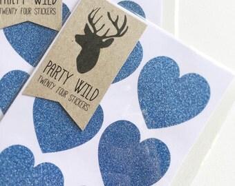 Navy Blue Glitter Heart Stickers Pk24 - Envelope Seals. Invitations. Favours.