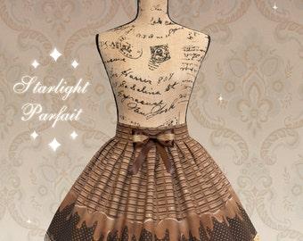 Dripping Chocolate Brown Skirt   OTT Sweet lolita Fashion   Kawaii   Harajuku   Handmade in the USA   Made To Order  