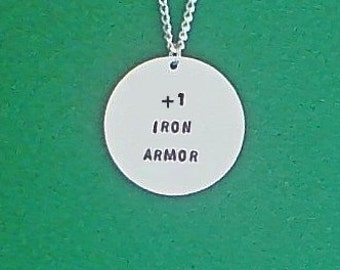 necklace- gamer necklace- +1 iron armor- geek necklace- geek- game