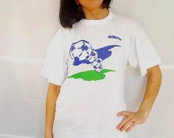 Gillette promotional t-shirt advertisement tshirt mens t-shirt cotton white tee mens tshirt large vintage 1980 size Large L
