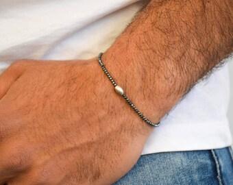 Beaded Men's Bracelet, Beaded Bracelet, Men's Jewelry, Minimal Bracelet, Handmade Bracelet, Beads Jewelry Matte Black Color, Gift for Him.
