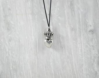 Heart Necklace, Men's Necklace, Love Jewelry, King Pendant, Crown Pendant, Gift For Men. Handmade In Greece.