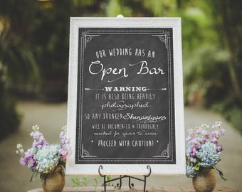 Chalkboard Open Bar Sign Printable Wedding Sign Welcome Wedding Sign Floral Wedding Sign Boho Wedding Sign Wedding Bar Sign Wedding Signage