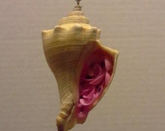 Small conch shell ornament, Christmas ornament, homemade shell flower,