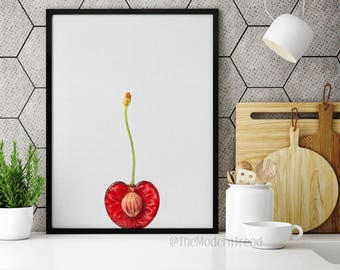 Cherry Print, Food Print, Food Wall Art, Fruit Print, Fruit Wall Art, Fruit Decor, Kitchen Fruit Print, Kitchen Art, Kitchen Printable, F01