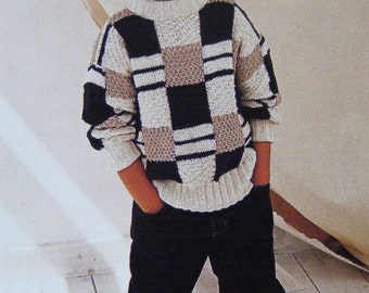 Childrens Sweater PDF Knitting Pattern : Boys or Girls 20 - 22, 24 - 26 and 28 - 30 inch chest . Baby and Toddlers Jumper . Digital Download