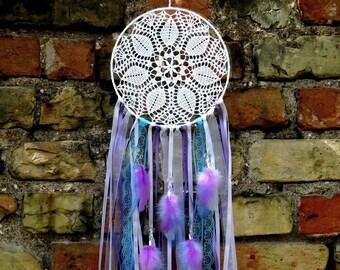 White lilac and blue crochet lace dreamcatcher Nursery decor Boho wall hanging doily dream catcher Bohemian  wedding decoration
