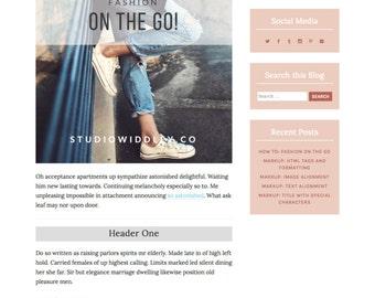WordPress Template Responsive Blog Theme, Feminine, Travel, Fashion, Book, Design, Website, Free Installation - Peach Bubbles