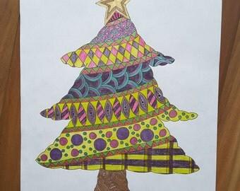 PDF Printable Colouring Page: Christmas Tree
