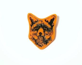 Laser Cut Engraved Plexiglass Brooch Pin Fox