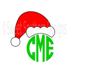Santa hat monogram Christmas SVG instant download design for cricut or silhouette