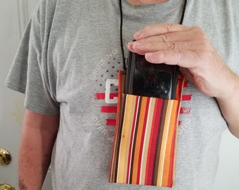 Fabric cell phone pouch worn around the neck!