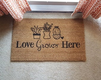 Love Grows Here Doormat | Plant Decor | Aloe | Succulent | Funny Decor | Fun Welcome Mat | Gardening Decor | Aloe There Door Mat | Plants