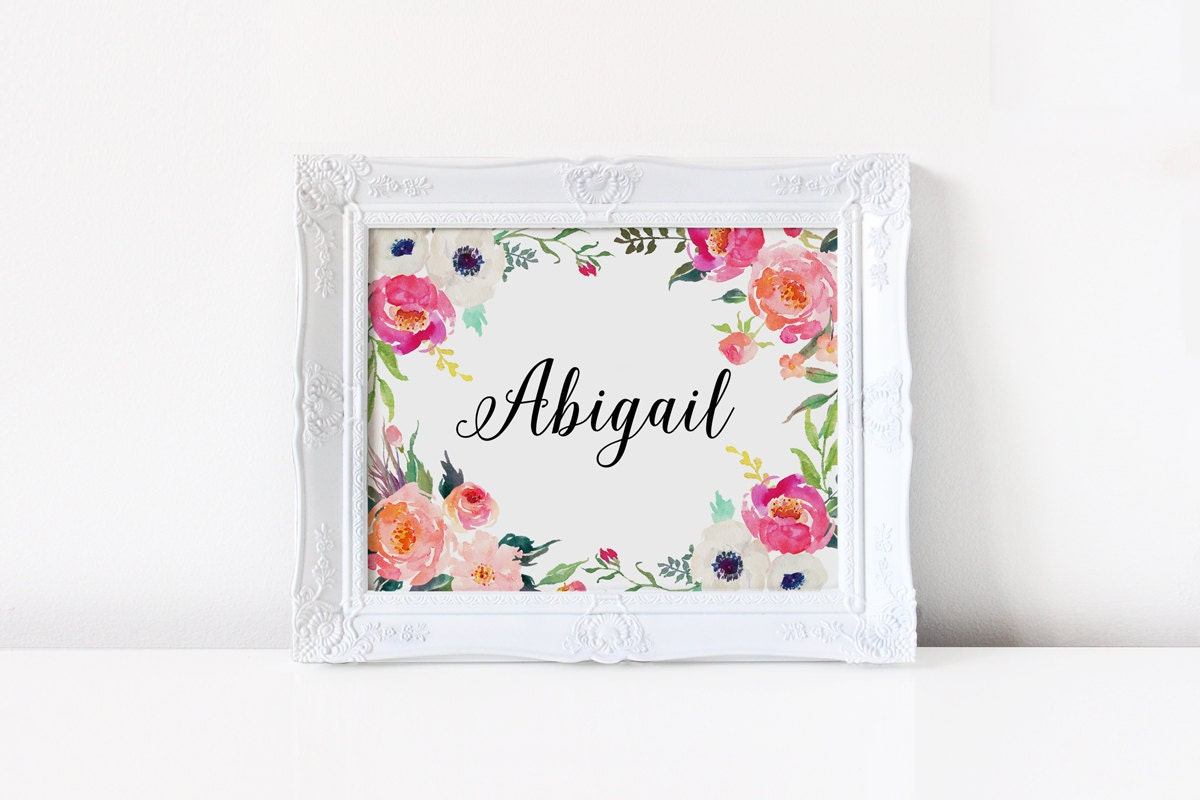 Nursery name decor abigail name custom name baby girl name for Art sites like etsy