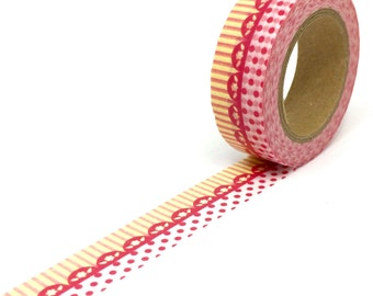 Lace Border Washi Tape - Orange and Red Frilly Pattern