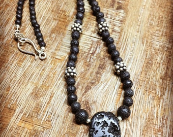 Natural lava bead short necklace   silver beads and clasp