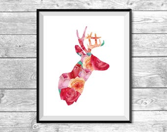 DIGITAL FILE - Floral Deer Silhouette - Printable, House Decor, Apartment, Room Decoration, Floral Wall Art