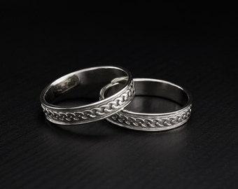 Unique matching wedding bands, Couple wedding rings, Vintage style wedding band set, His and hers rings, Wedding bands set, Silver bands