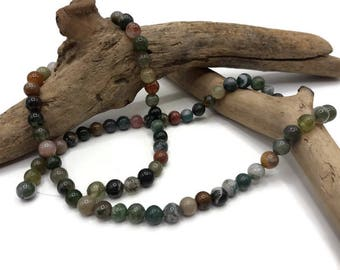 Agate 6 mm - Pack 40/80 beads - Indian - gemstone - semi precious stone beads - A042