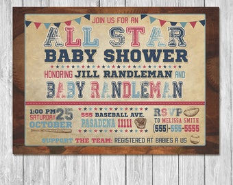 Vintage Sports Baby Shower Invitation - Baby Shower Invite - Sports Baby Shower - All Star Baby - Baseball Baby Shower - Football Shower