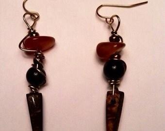 Black jasper and carnelian agate wedge earrings, carnelian earrings, coconut shell, gemstone dangle earrings, wood and gemstone earrings