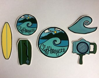 Cliffhangers Surfing Ocean Wave Camera Vinyl Stickers