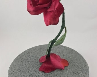 Life Size Light Up Enchanted Rose Inspired by Beauty and the Beast MAGENTA PINK
