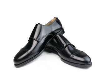 Women Handmade Double Monk Strap in Black Polished Leather