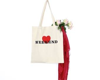 Weekend Shopping Bag, Canvas tote bag, Reusable bag, Shoulder bag, Shopper bag, Picnic bag, Embroidered tote bag, Festival bag