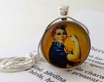 Rosie the Riveter Pendant Necklace - We Can Do It! Feminist Necklace, Womens History, Gift For Girlfriend, Rosie The Riveter Jewellery