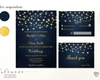 Navy Blue Water Printable Wedding Invitation Suite String Lights Gold Letters Calligraphy Card Digital Invite Bride Wedding Set - WS012