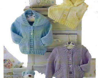"Hoody Cardigan Waistcoat all with Pockets UKHKA 135 Knitting Pattern (12""- 20"") UKHKA 135 , Baby knitwear , hand knitting pattern"