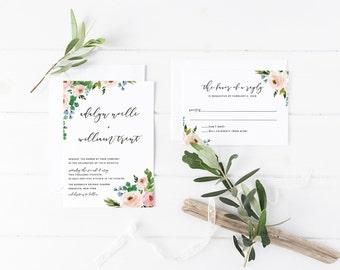 Printable Wedding Invitation Suite / Watercolor, Floral / Wedding Invite Set -  The Adalyn Noelle Suite