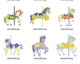 Carousel-Horses. ( 10 Machine Embroidery Designs from ATW )