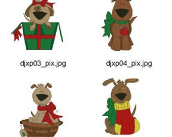 Christmas-Pooches-Cross-Stitch  ( 8 Machine Embroidery Designs from ATW ). XYZ17C