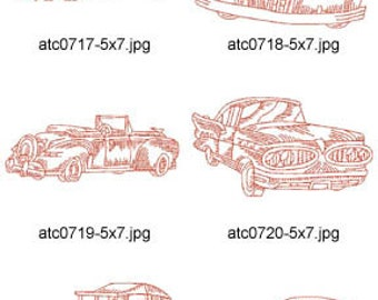 Redwork-Vintage-Cars-5x7 ( 10 Machine Embroidery Designs from ATW ) XYZ17D